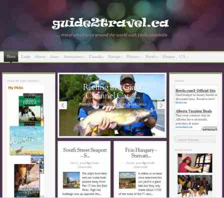 Screen capture of guide2travel online travel magazine.