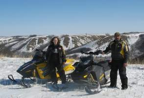 David & LInda Aksomitis snowmobiling in the Qu'Appelle Valley in 2008.