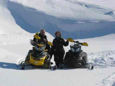 David & Linda Aksomitis snowmobiling.
