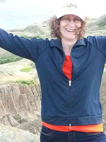 Linda Aksomitis at the sand castles near Beechy.