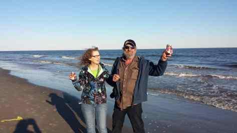 Linda Aksomitis & David Aksomitis in Grand Isle, Louisiana.