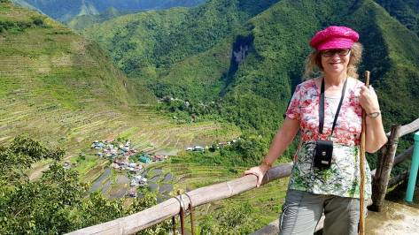 Linda Aksomitis hiking at the UNESCO Banaue Rice Terraces in the Philippines.
