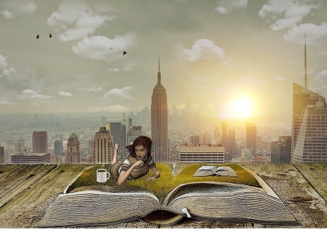 Surreal photo of a woman with a book and a city in the background from Vintage Style Photos Collection VI.