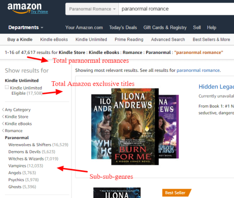 Screen capture of romance paranormal sub-categories in the Kindle store.