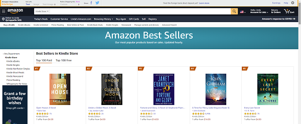 Amazon Kindle Best Sellers List.